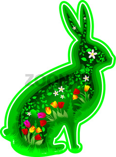 Hare rabbit with flowers and leaves