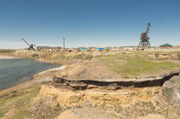 Dry fishing port on the Aral sea in the city of Aral