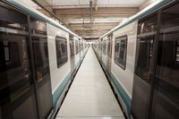 Subway trains in a depot