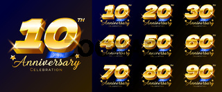 Set of gold anniversary celebration numbers, logo, emblem, design template for poster, banner, vector illustration isolated.