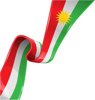 kurdistan ribbon flag on white background
