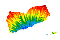 Yemen - map is designed rainbow abstract colorful pattern, Republic of Yemen map made of color explosion,
