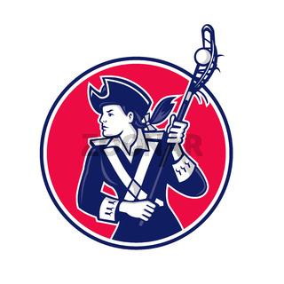 Female Lacrosse Player Patriot Mascot
