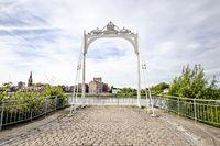 Klein Willerbroek, Belgium - May 22, 2019 - Remains of the Van Enschodt bridge across the river Rupel