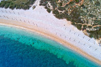 Stara Baska. Island of Krk pebble nearat Stara Baska aerial view