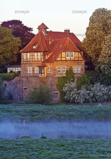 Petershagen castle at sunrise, Petershagen, East, Westphalia, North Rhine-Westphalia, Germany Europe