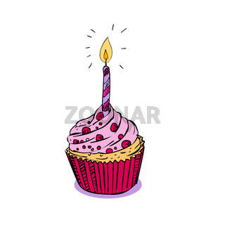 Birthday Muffin Cake With Candle Drawing