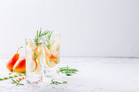 Summer drinks, rosemary pear cocktails.