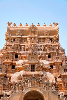 Carvings on Maratha entrance and Keralantakan Tiruvasal Gopura, Brihadisvara Temple, Tanjore, Tamil Nadu