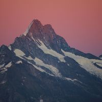 Mount Schreckhorn at sunrise. View from Mount Niederhorn.