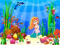 Little Mermaid among the inhabitants of the underwater world