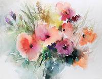 mohnblumen malerei aquarell strauß