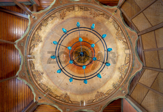 Ceiling of Whirling Dervishes Ceremony hall at the Mevlevi Tekke, a meeting hall for the Sufi order and Whirling Dervishes, Cairo, Egypt