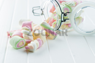 Sweet colorful marshmallows.
