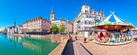 Zurich and Limmat river waterfront colorful panorama