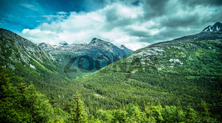 beautiful rocky mountains in june in whitepass near skagway alaska