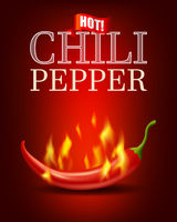 Burning hot chili pepper with flame on red background, bitter spicy hot