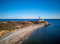 Montauk Lighthouse and beach aerial shot