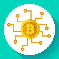 Bitcoin icon, digital currency symbol, cryptocurrency icon flat, mining, banking technology, vector illustration