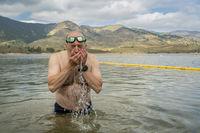 swimming in mountain lake