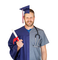 Split Screen of Caucasian Male As Graduate and Nurse Isolated On White