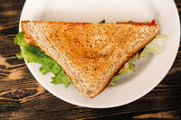 Top view of triangle sandwich on plate