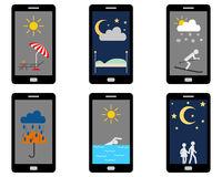 Verschiedene Wettersymbole und Freizeitaktivitäten auf Smartphone - Various weathers symbols and leisure activities on Smartphone