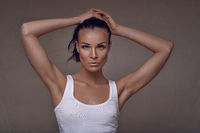 Sensual middle-aged woman in summer top