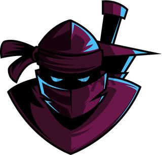 Danger ninja with sword, illustration, vector on white background.