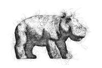 Hippopotamus ballpoint pen doodle