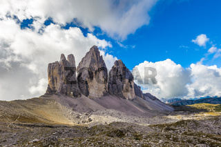 Three peaks. National Park Tre Cime di Lavaredo. Dolomites, South Tyrol, Italy