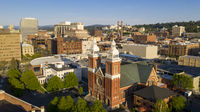 Historic buildings at the forefront in the downtown urban area of Spokane Washington