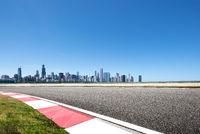 asphalt highway with modern city in chicago