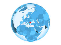Bulgaria on blue globe isolated