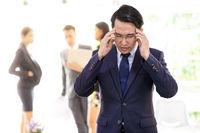 Asian Businessman strain and got pressured