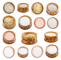 collection from wooden salt cellar with salts