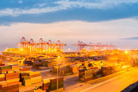 modern container terminal in nightfall