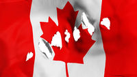 Canada flag perforated, bullet holes