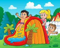 Kids on water slide theme image 2