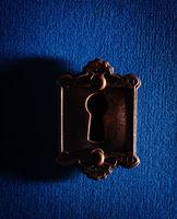 Old lock on blue