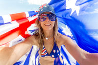 Australian fan Celebrate Australia - woman with Australian flag