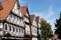 historic half-timbered houses in the old town of Celle