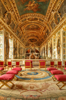 Paris, France, March 31, 2017: Chapel of the Trinity in Chateau Fontainebleau which used to be a royal chateau in France. The Room above the Chapel. National museum and a UNESCO World Heritage Site