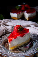 delicious strawberry cream cheese pie with biscuit base