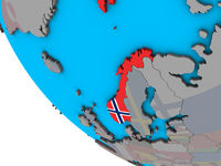 Norway with flag on 3D globe