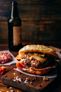 The Casanova Burger on Cutting Board.