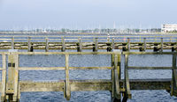 wooden jetties in the harbour of Warnemuende