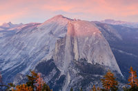 Sunset views over Half Dome from Sentinel Dome.