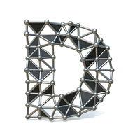 Wire low poly black metal Font Letter D 3D