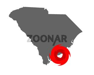 Karte von South Carolina und Hurrikansymbol - Map of South Carolina and hurricane symbol